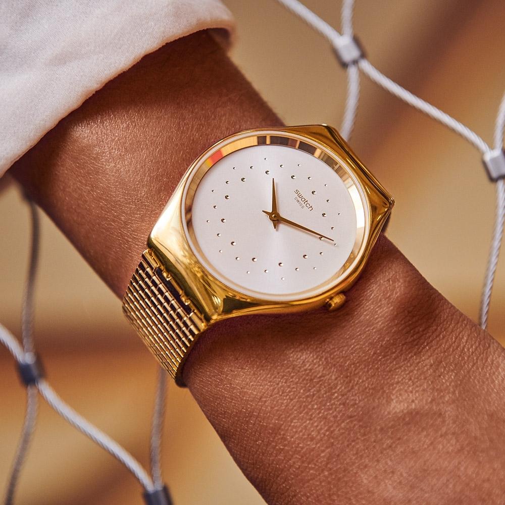 Swatch 超薄金屬手錶 SKIN GLAM-38mm