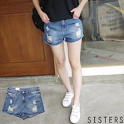 破破感洗舊牛仔褲短褲  S-3L SISTERS