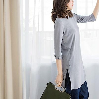 舒適側襬開衩袖反褶上衣-OB大尺碼