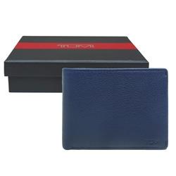 TUMI 簡約雙折牛皮短夾-藍色(附原廠禮盒)