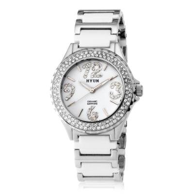 HYUN炫 鑽石設計陶瓷錶-白陶瓷白底白鑽