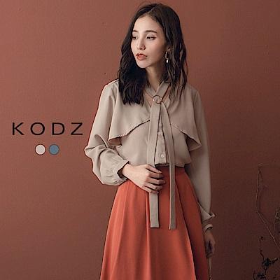 東京著衣-KODZ 經典美學OL綁帶釦環雪紡長袖上衣-S.M.L(共二色)