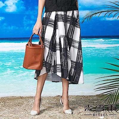 【麥雪爾】幾何藝術線條不規則下擺棉質長裙