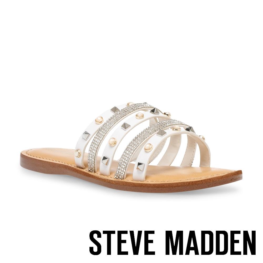 STEVE MADDEN-MIKAH 時尚飾扣皮質涼拖鞋-白色