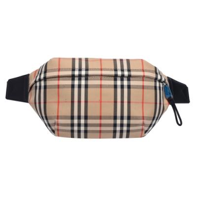 BURBERRY 經典Vintage格紋帆布皮革飾邊拉鍊腰包/斜背包(卡其)
