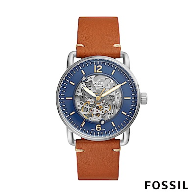 FOSSIL COMMUTER 透視機械錶-藍x焦糖 約42mm ME3159
