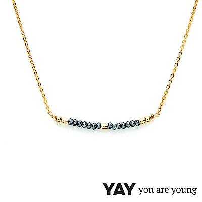 YAY You Are Young 法國品牌 Cleo 灰寶石項鍊 迷你款 金色