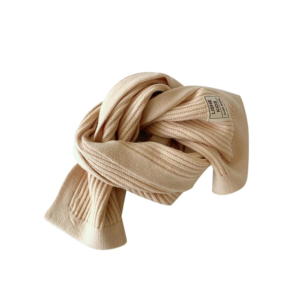 Baby童衣 秋冬簡約純色布標圍脖 兒童針織圍巾 88582