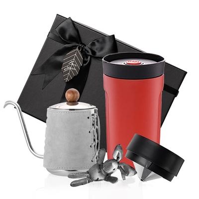 【PO:Selected】丹麥手沖咖啡禮盒組(手沖咖啡壺-灰/隨行保溫咖啡杯350ml-紅)