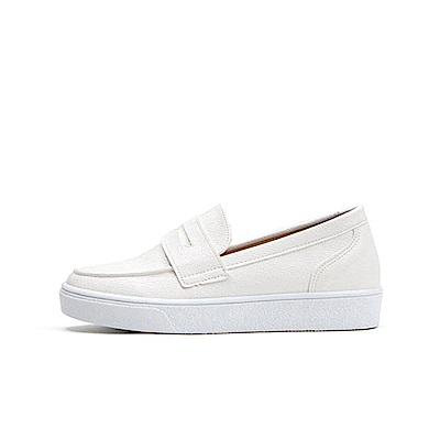 【AIRKOREA韓國空運】經典不敗質感皮革材質樂福鞋休閒鞋-白