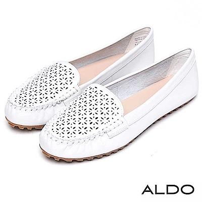ALDO 原色真皮幾何鏤空雕花平底鞋~清新白色