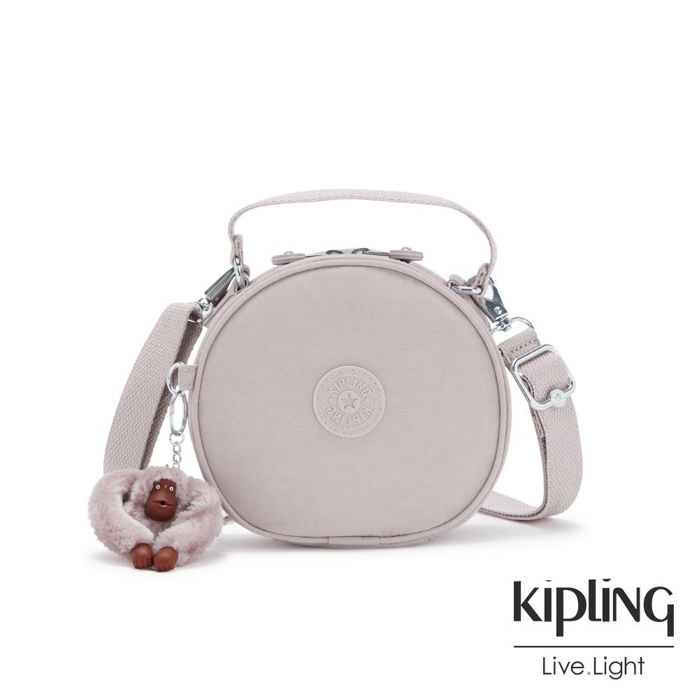 Kipling 優雅高級灰圓形手提兩用斜背包-FUN