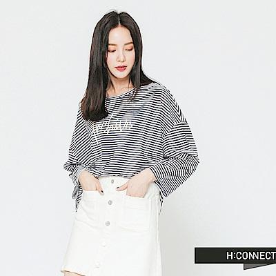 H:CONNECT 韓國品牌 女裝-細條紋印字長袖T-shirt-藍