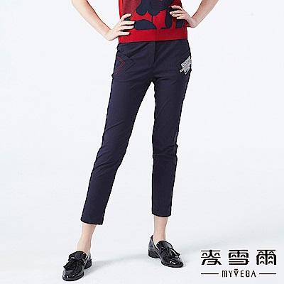 【麥雪爾】拼布徽章造型口袋彈性長褲