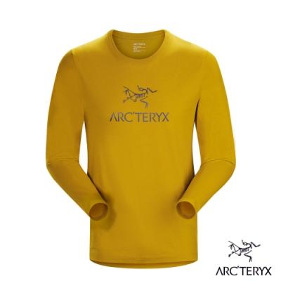 Arcteryx 始祖鳥 男 24系列 LOGO 百分百有機棉 長袖T恤 金黃棕
