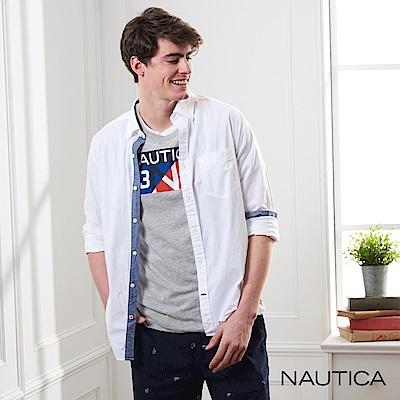 Nautica 經典原色長袖襯衫-白色