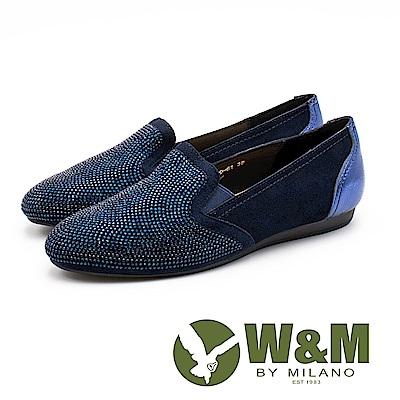 W&M 奢華鑽面 皮革莫卡辛休閒鞋 女鞋 - 深藍(另有紫紅)