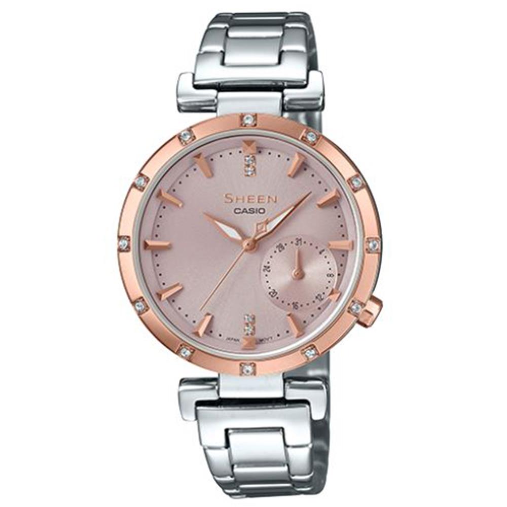 SHEEN優雅智慧簡約耀眼施華洛世奇指針腕錶(SHE-4051SG-4)蜜桃金框32mm @ Y!購物