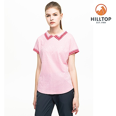 【hilltop山頂鳥】女款吸濕快乾抗UV彈性POLO衫S14FF4糖果粉