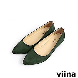 viina Basic 素面絨布跟鞋 - 墨綠