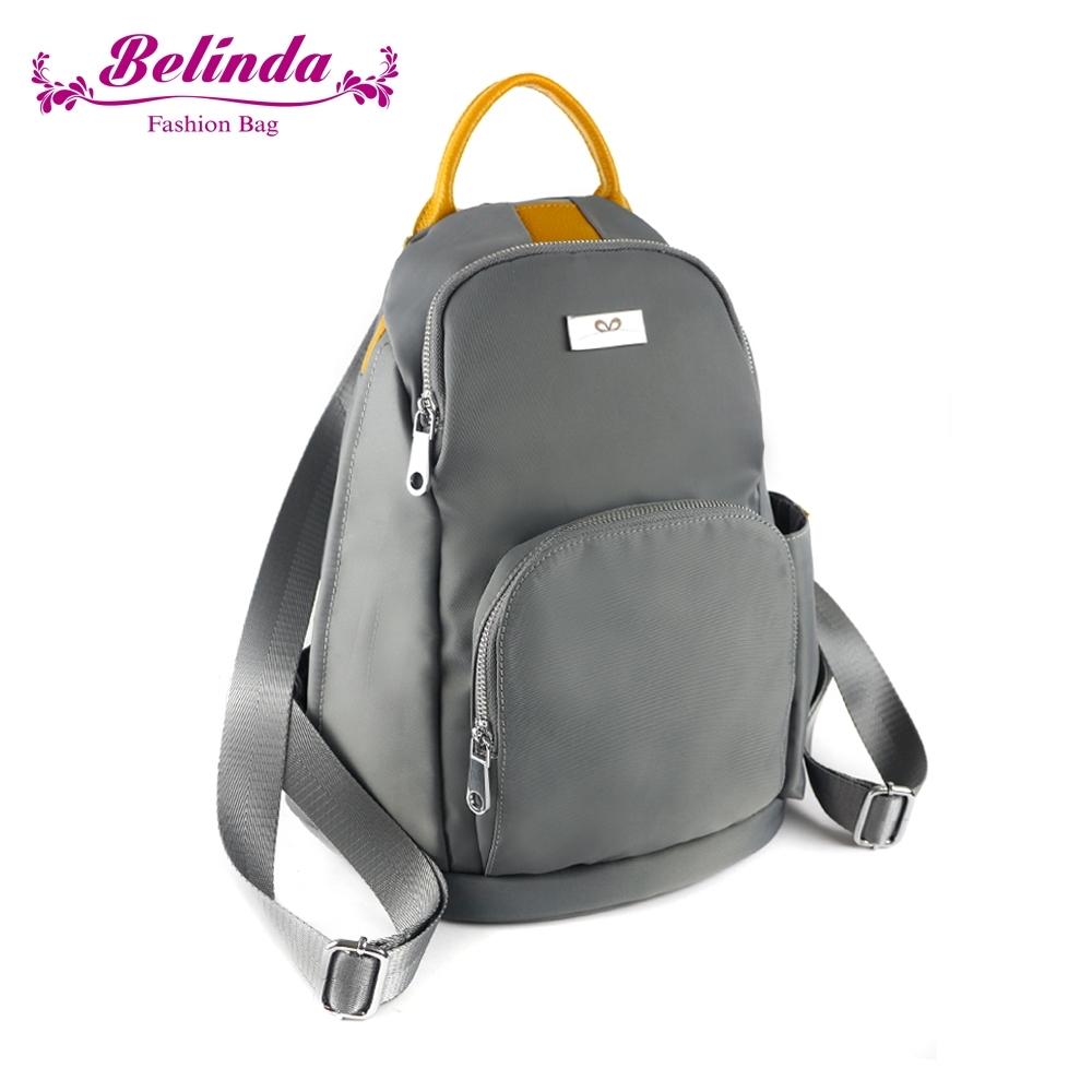 【Belinda】環遊世界真皮尼龍後開後背包(灰色)