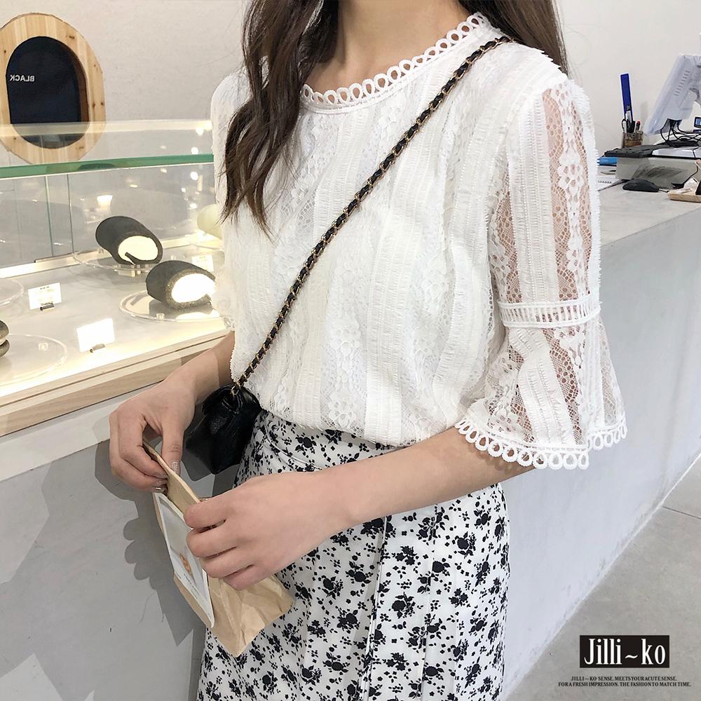 Jilli-ko 韓版喇叭袖花邊蕾絲衫- 白