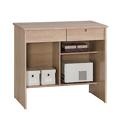 文創集 伊斯時尚3尺木紋書桌/電腦桌(五色可選)-91x60x75cm免組