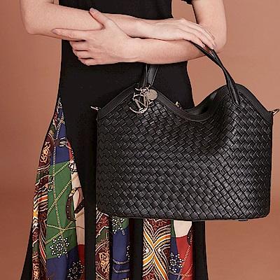 Maria Carla手提側背包-羊皮編織包_完美格調、迷漾輕時尚系列(霧黑)