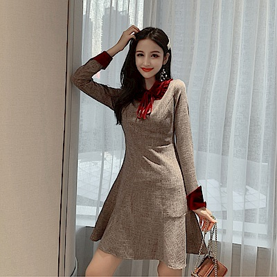 DABI 韓國風名媛優雅絲絨拼接格紋收腰長袖洋裝