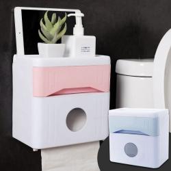 Ezlife無痕貼雙層防水紙巾收納盒