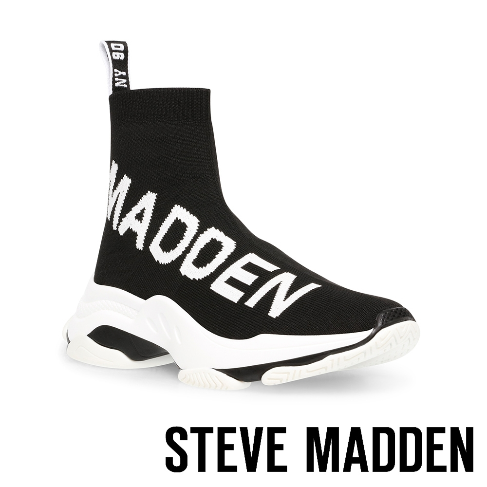STEVE-MADDEN-MAESTRO 潮流款 品牌字母襪套休閒鞋-黑色