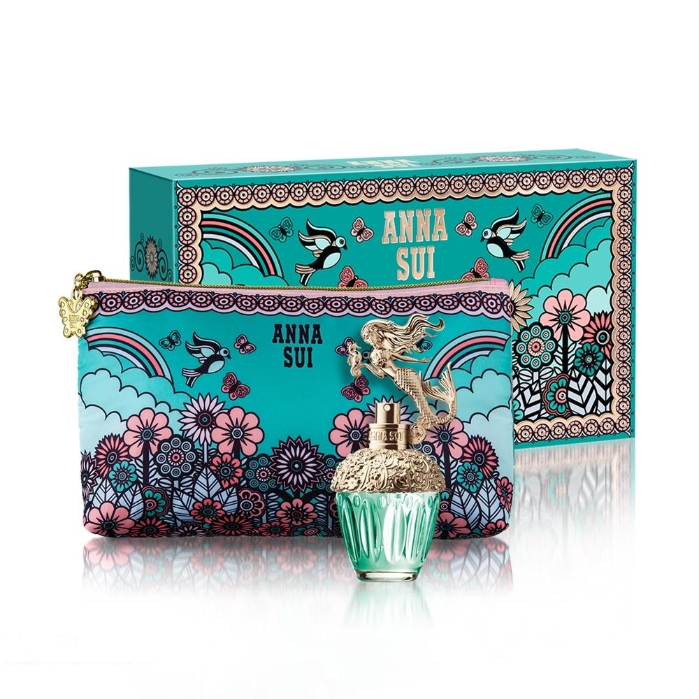 ANNA SUI美人魚童話禮盒(淡香水30ml+愛情鳥化妝包)