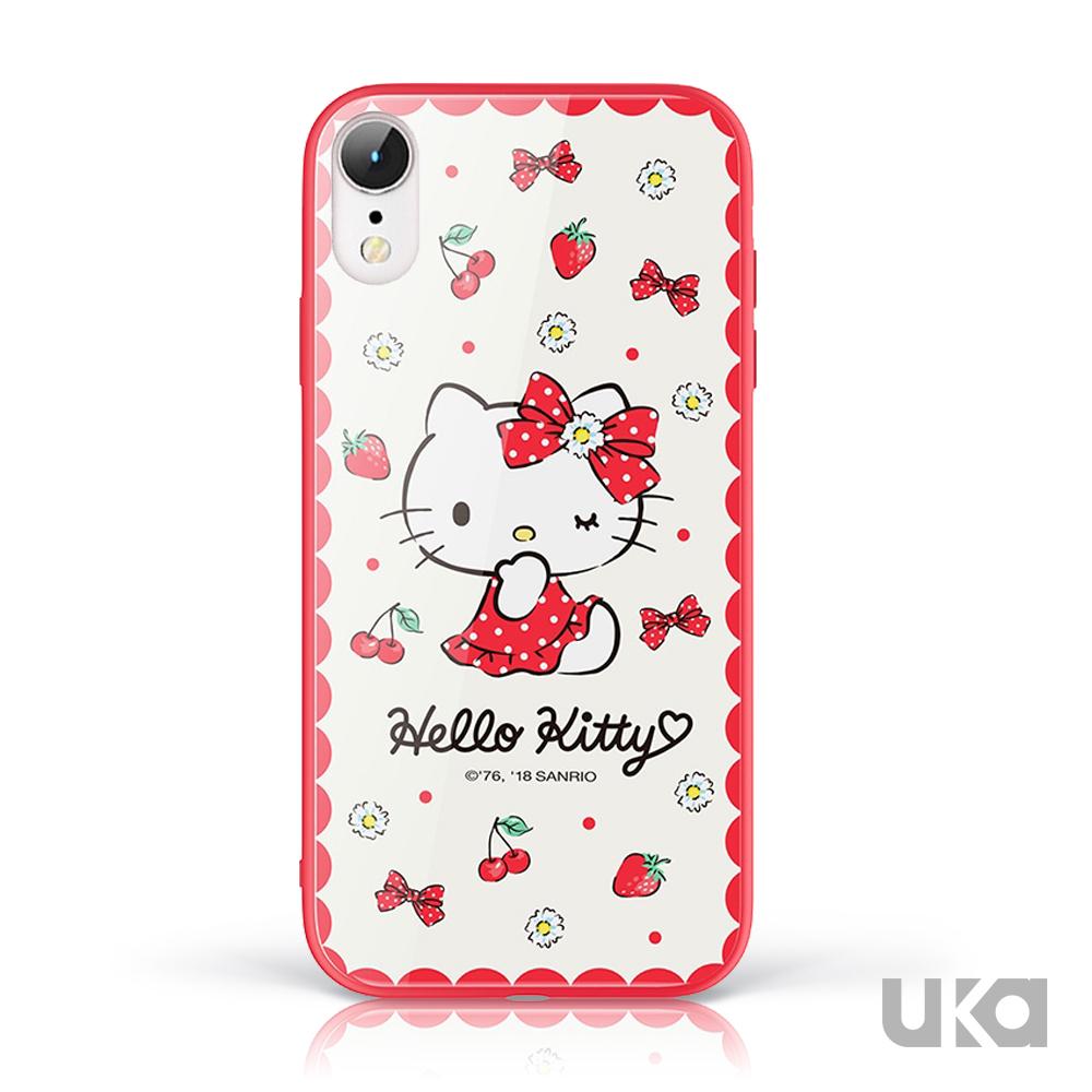 三麗鷗 HelloKitty iPhone XR 9H鋼化玻璃彩繪背蓋 - 小清新