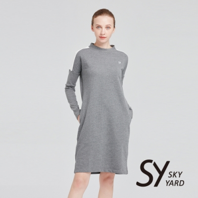 【SKY YARD 天空花園】小立領拼接彈性休閒洋裝-灰色