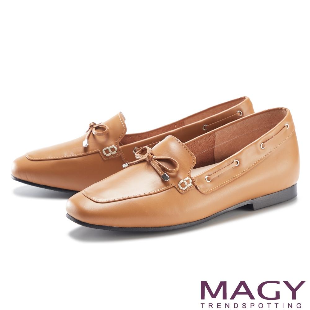 MAGY 嚴選真皮蝴蝶結平底 女 樂福鞋 棕色