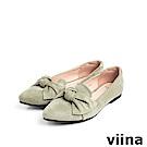 viina Basic羊絨布大蝴蝶結尖頭平底鞋 - 綠