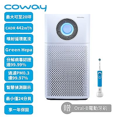 Coway 20坪 綠淨力噴射循環空氣清淨機 AP-1516D 送電動牙刷+24cm不沾湯鍋