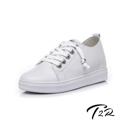 T2R-正韓空運-真皮帆布鞋小白鞋隱形增高鞋-增高6公分-白