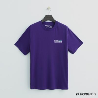 Hang Ten - 有機棉-簡約撞色logo棉短T - 紫