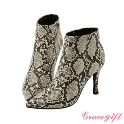 Grace gift X Kerina-聯名素色尖頭細跟靴 蛇紋