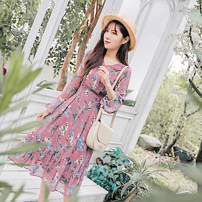 氣質印花喇叭袖荷葉裙襬雪紡洋裝-OB大尺碼