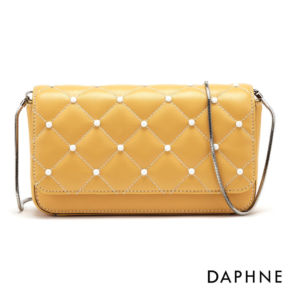 達芙妮DAPHNE-經典菱格紋鍊帶小方包-黃色
