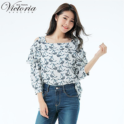 Victoria挖肩荷葉袖七分袖T-女-白色