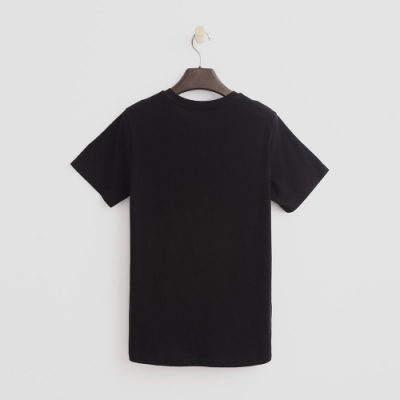 Hang Ten - 女裝 - 有機棉-簡約純色小V領T桖 - 黑