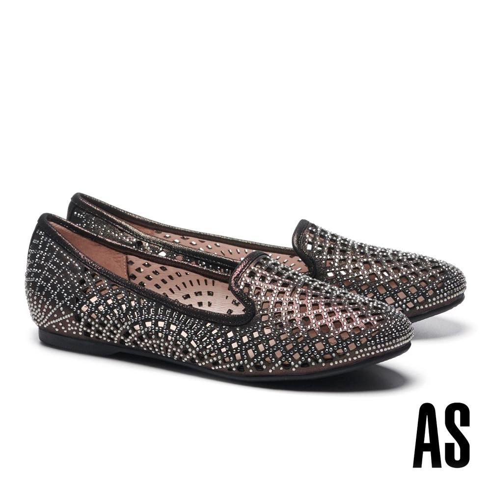 平底鞋 AS 璀璨晶鑽沖孔金屬布紋羊麂皮平底鞋-黑
