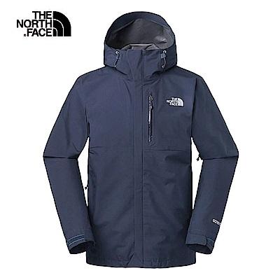 The North Face北面男款藍色防水透氣衝鋒衣 3VR9TNG