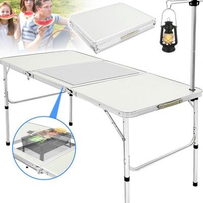 折疊鋁合金烤肉桌+燈架 手提野餐桌 摺疊燒烤桌BBQ
