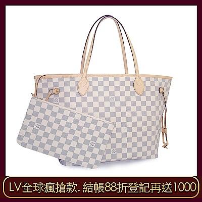 LV N41361 Damier Neverfull MM 白色棋盤格肩背購物包(中)