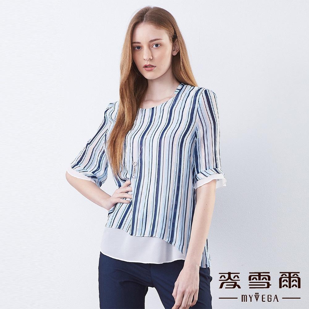 【麥雪爾】藍白條紋壓紋雪紡上衣