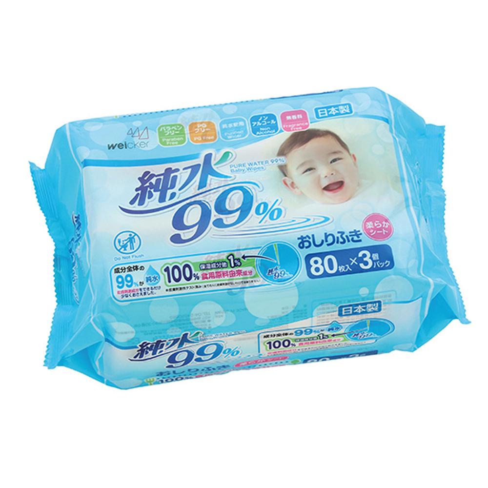 Weicker-純水99%日本製濕紙巾一般型80抽3包